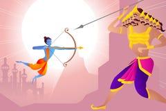 Rama killing Ravana in Dussehra. Vector illustration of Rama killing Ravana in Happy Dussehra Stock Photos