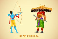 Rama killing Ravana. Easy to edit vector illustration of Rama killing Ravana in Dussehra Stock Photo