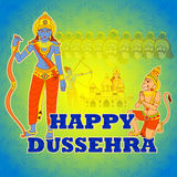 Rama killing Ravana in Happy Dussehra Stock Photo
