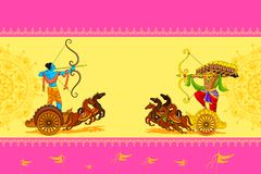Rama killing Ravana in Happy Dussehra Stock Photography