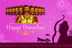 Rama killing Ravana in Happy Dussehra Royalty Free Stock Photos