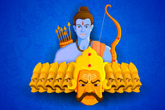 Rama killing Ravana in Happy Dussehra Royalty Free Stock Image