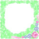 Rama kwiaty z zieleniami, akwarela Zdjęcia Stock