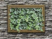 Rama na kamiennej ścianie z zielenią opuszcza inside Zdjęcie Royalty Free