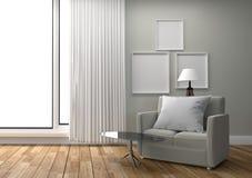 Rama na pustym biel ściany tle Biały pokój z poduszką na kanapie i stole - skandynawa styl - ?wiadczenia 3 d royalty ilustracja