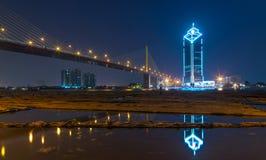 The RAMA nine Bridge with cityscape at twilight, bangkok, thailand Stock Images