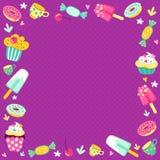 Rama od cukierków dla rejestraci zaproszenia i dziecka ` s wakacje ilustracji