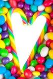 Rama od serca od kolorowych cukierków cukrowi cukierki Zdjęcie Stock