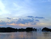 Rama9 Parkpool sundset stock fotografie