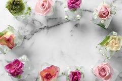 Rama robić kostka lodu z kwiatami na marmurowym tle, mieszkanie nieatutowy obrazy stock