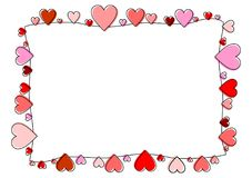 Rama robić czerwoni konturów serca royalty ilustracja