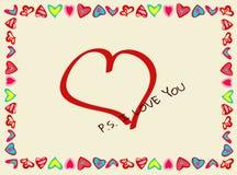 Rama serca z deklaracją miłość Obrazy Stock