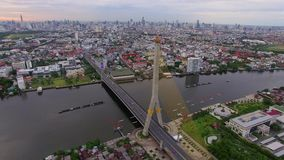 Rama 8 suspension bridge stock video