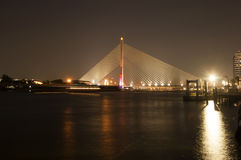 Rama 8 suspension bridge at night, Bangkok Royalty Free Stock Images