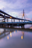 Rama9 Suspension bridge reflection lights Stock Image