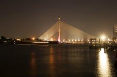 Rama 8 upphängningbro på natten, Bangkok Royaltyfria Bilder
