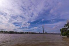 Rama VIII桥梁,曼谷泰国 免版税图库摄影