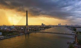 Rama VIII Brücke, Bangkok, Thailand Lizenzfreies Stockbild