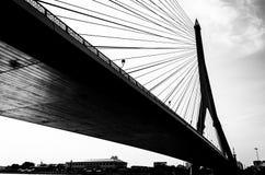 Rama VIII Bridge in Bangkok. Black and white Rama VIII Bridge in Bangkok' Thailand Stock Image
