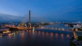 The Rama VIII Bridge. During in Beautiful Twilight, Bangkok, Thailand Stock Photography