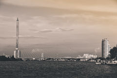 Rama VIII Bridge. BW scene of Rama VIII Bridge, Bangkok, Thailand Royalty Free Stock Image