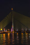 Rama VIII Bridge. The Rama VIII Bridge is a cable-stayed bridge crossing the Chao Phraya River in Bangkok, Thailand Royalty Free Stock Photography