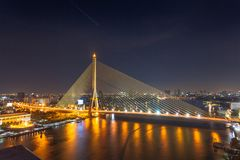 The Rama VIII Bridge is a cable stayed bridge crossing the Chao royalty free stock photo