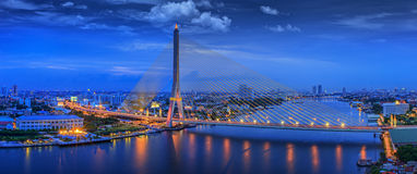Rama VIII Bridge. City scape of Rama VIII Bridge at night in Bangkok and Chopraya river, Thailand Stock Image