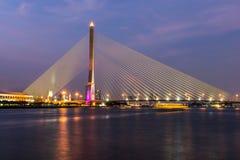Rama VIII Bridge. Evening Bangkok Thailand Stock Images