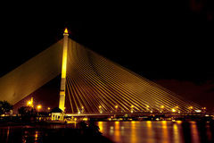 Rama VIII Bridge at night Stock Images