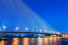 Rama VIII Bridge. At Night Bangkok Thailand Stock Image