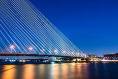 Rama VIII Bridge. At Night Bangkok Thailand Stock Photos