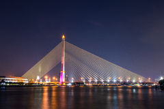 Rama VIII Bridge at night. Bangkok Thailand Stock Image