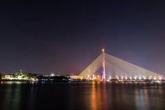 Rama VIII Bridge at night. Bangkok Thailand Royalty Free Stock Images