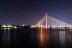 Rama VIII Bridge at night. Bangkok Thailand Royalty Free Stock Photos