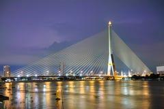 Rama VIII Bridge. One of the Rope Bridge across the Chao Phraya River Royalty Free Stock Photos