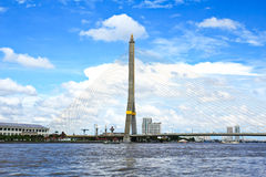 The Rama VIII bridge over the Chao Praya river Royalty Free Stock Images