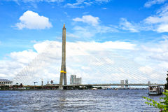 The Rama VIII bridge over the Chao Praya river Royalty Free Stock Photography