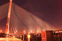 The Rama VIII bridge over the Chao Praya river at night Royalty Free Stock Photo
