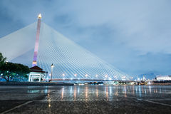Rama VIII Bridge. The Rama VIII Bridge is a cable-stayed bridge crossing the Chao Phraya River in Bangkok, Thailand.The bridge was opened on 7 May 2002 and Stock Images