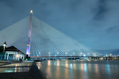 Rama VIII Bridge. The Rama VIII Bridge is a cable-stayed bridge crossing the Chao Phraya River in Bangkok, Thailand.The bridge was opened on 7 May 2002 and Royalty Free Stock Photography