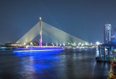 Rama VIII Bridge. Shoot From Chao Phraya Royalty Free Stock Photography