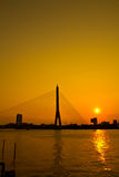 Rama VIII Bridge in the sunset Royalty Free Stock Images