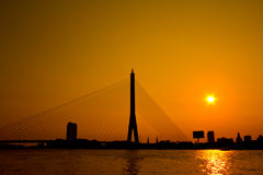 Rama VIII Bridge in the sunset Royalty Free Stock Photo