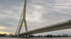 The Rama VIII Bridge at Thailand. Modern buildings the Rama VIII Bridge at Thailand Royalty Free Stock Image