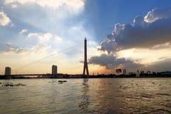 Rama VIII Chao Phraya bridge at sunset, Bangkok Stock Photo