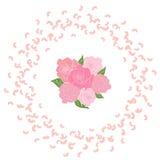 Rama wirować latać różanych płatki z bukietem panna młoda sześć róż w centrum Trąby powietrznej ślubny tło Zdjęcia Royalty Free