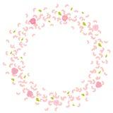 Rama wirować, lata płatki, róże i liście, Trąba powietrzna, ślubny tło Obrazy Stock