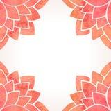 Rama z akwarela kwiatu czerwonym wzorem Wektorowy tło Zdjęcie Stock