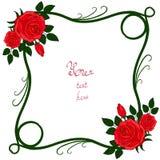 Rama z czerwonymi różami Zdjęcie Stock